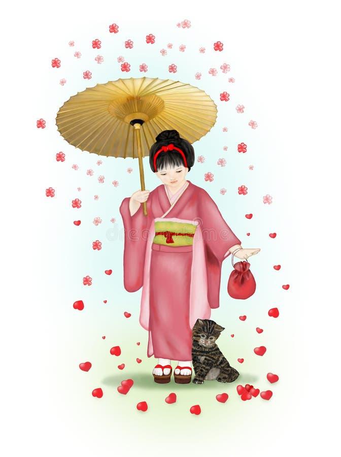 Идти в дождь цветков иллюстрация вектора