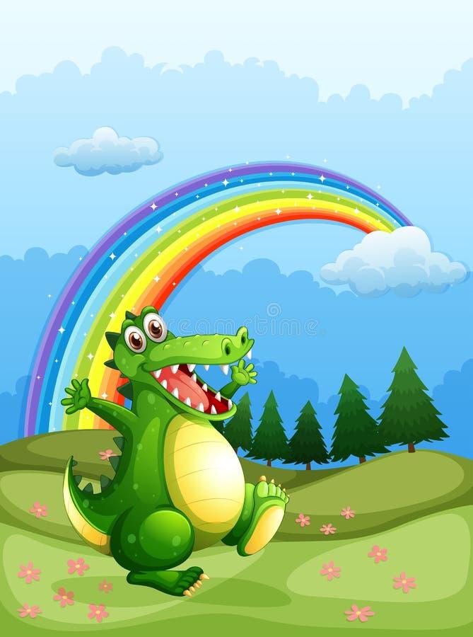 Идти крокодила и радуга в небе иллюстрация вектора