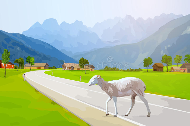 Идти овец иллюстрация штока