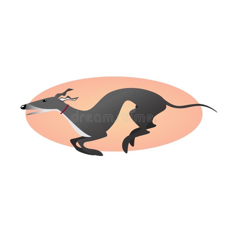 Идущая борзая изолированная на предпосылке Стилизованная собака изображения иллюстрация штока