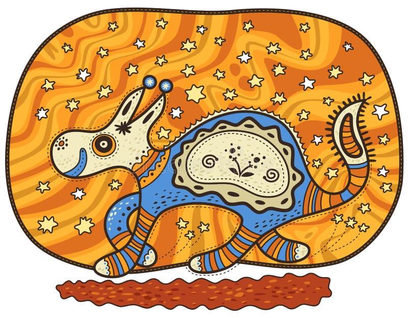 Идущее декоративное фантастическое животное иллюстрация вектора