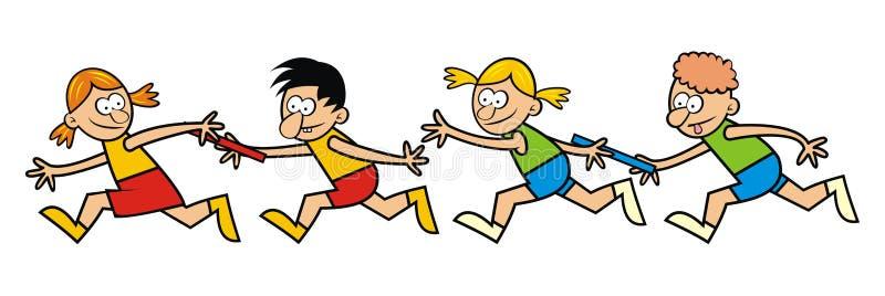 Идущие дети, реле бесплатная иллюстрация