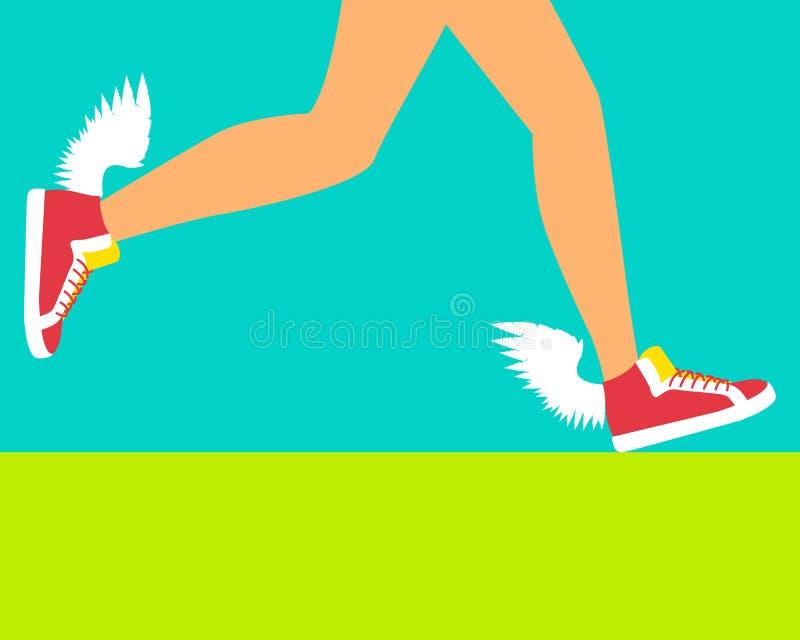 Идущий ботинок с крылами иллюстрация вектора