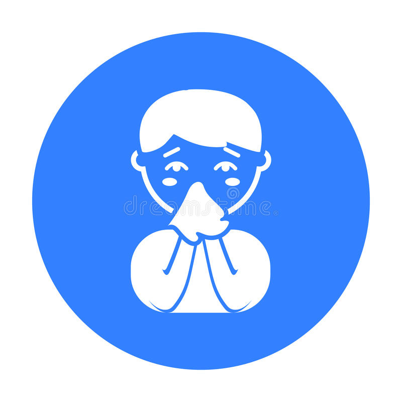 Идущий значок носа Определите больной значок от большой беды, заболевание иллюстрация вектора