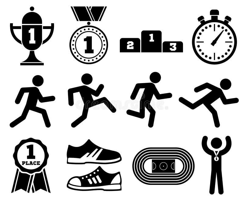 Идущий спорт, внешние jogging люди, значки вектора гонки марафона иллюстрация вектора