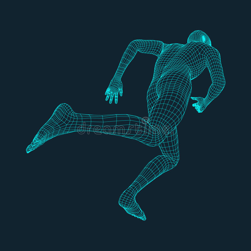 Идущий человек Полигональный дизайн модель 3D человека конструируйте геометрическое Дело, иллюстрация вектора науки и техники иллюстрация штока