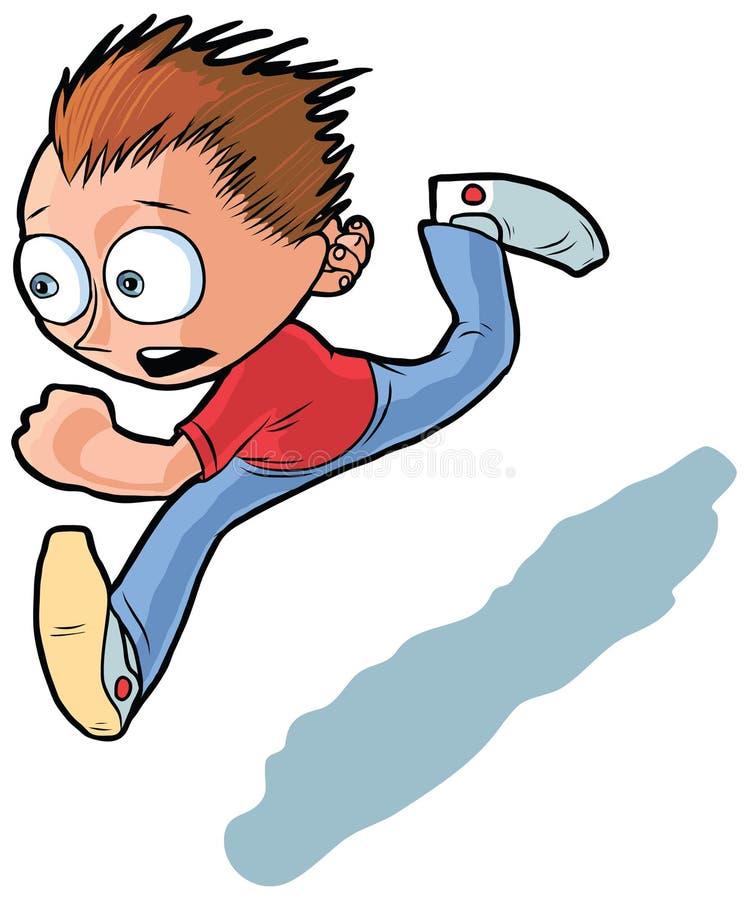 Идущий шарж вектора мальчика иллюстрация вектора
