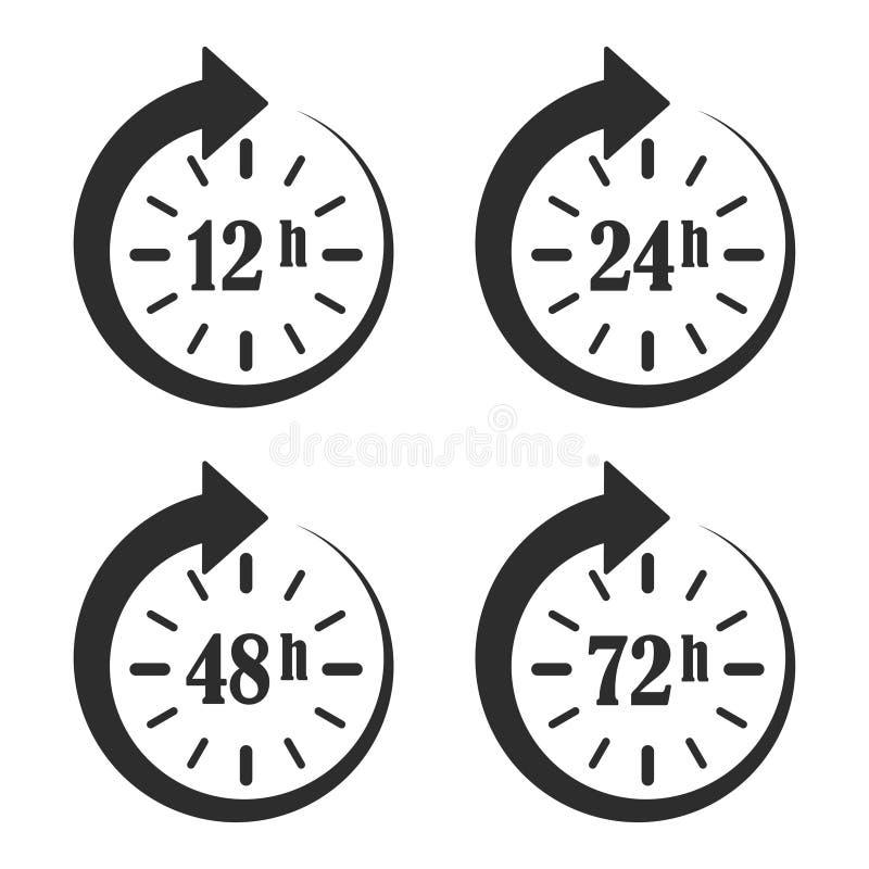 12, 24, 48 и 72 часа хронометрируют стрелку Время работы Онлайн дело Значки продолжительности эксплуатации доставки бесплатная иллюстрация