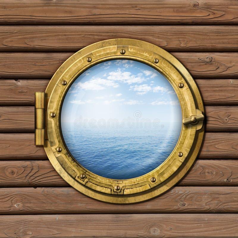 Иллюминатор корабля или шлюпки стоковое изображение