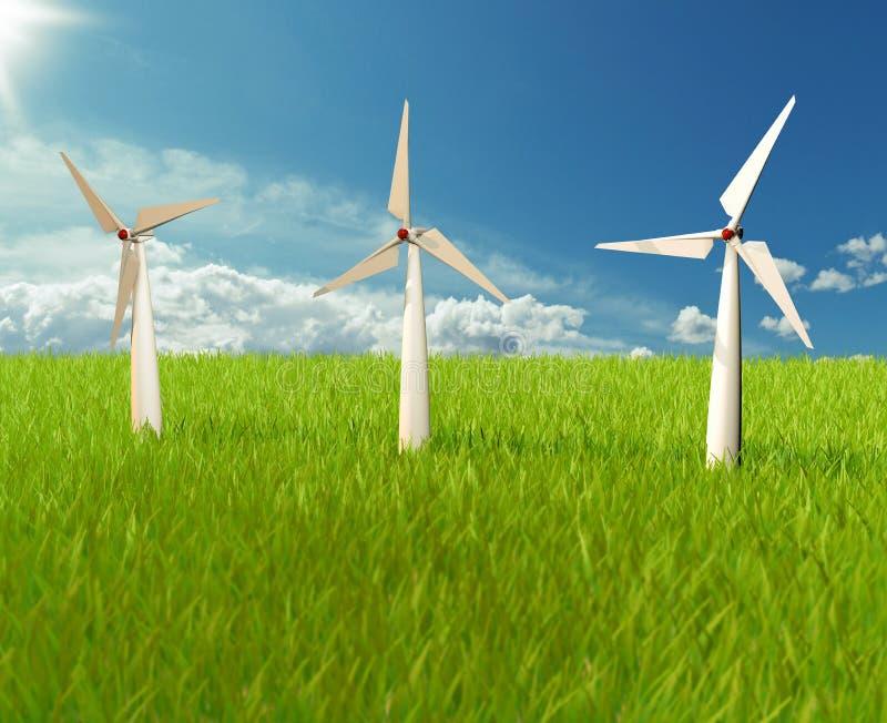 Иллюстратор ветрянки на небе стоковая фотография rf