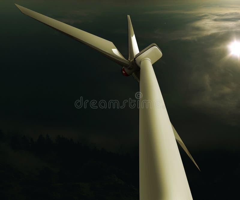 Иллюстратор ветрянки на небе стоковое изображение rf