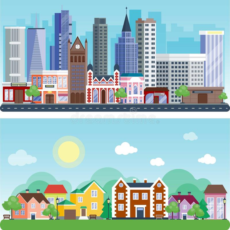Иллюстрации вектора дизайна зданий улицы дома ландшафта дня города предпосылка внешней внешней современная плоская иллюстрация штока