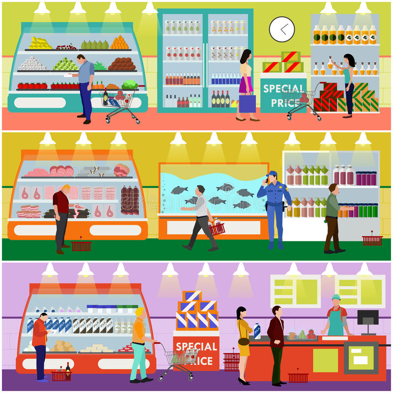 Иллюстрации вектора супермаркета стиль внутренней плоский Продукты покупки клиентов в продовольственном магазине Ходить по магази иллюстрация штока
