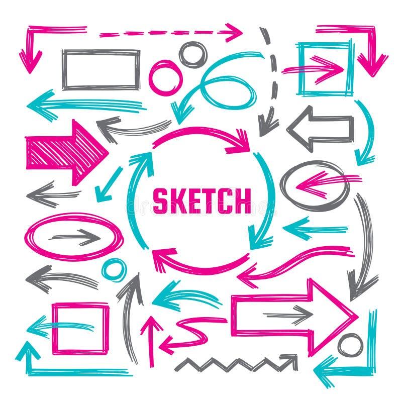 Иллюстрации вектора эскиза притяжки руки - творческий комплект знака Отметка стрелок, прямоугольников и овалов конструирует элеме бесплатная иллюстрация