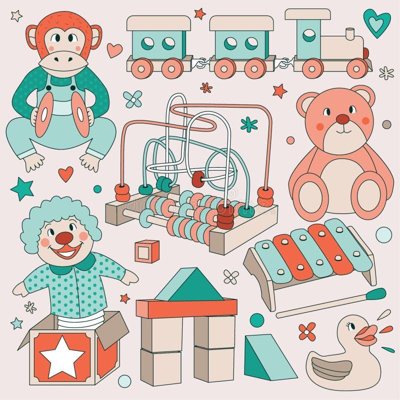 Иллюстрации винтажного вектора игрушек детей установленные - обезьяна цимбалы грохая, деревянный поезд, плюшевый медвежонок, русс иллюстрация штока
