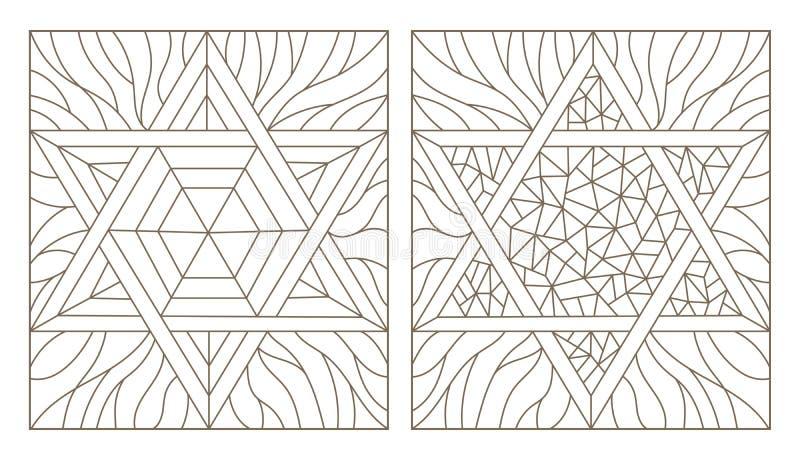 Иллюстрации контура установленные витражей с звездой Дэвида, темного плана на белой предпосылке иллюстрация штока