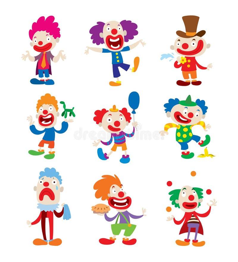 Иллюстрации шаржа вектора характера клоуна иллюстрация штока