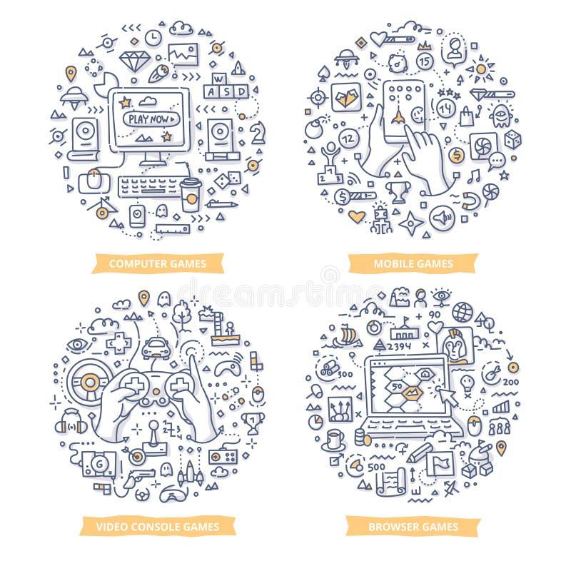Иллюстрации Doodle видеоигр бесплатная иллюстрация