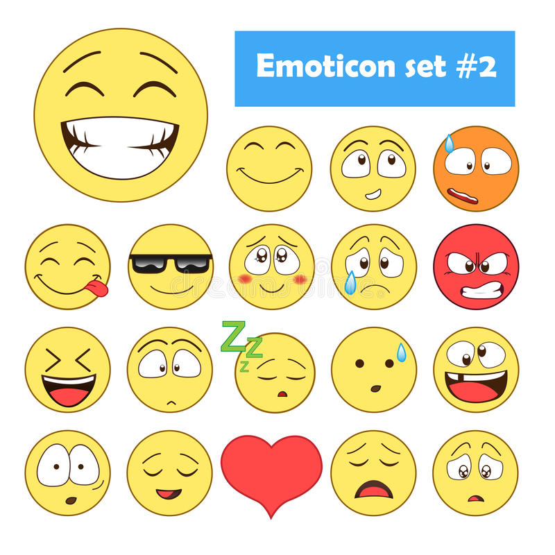 иллюстрации emoticons цветов вектор легкой editable установленный стоковая фотография rf