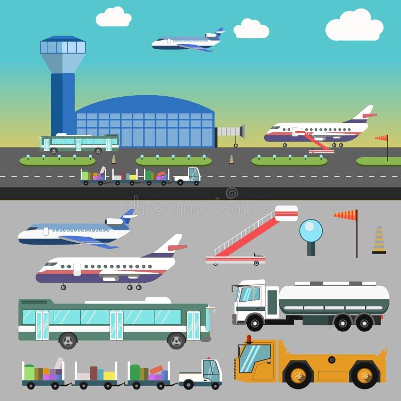 Иллюстрация авиапорта вектора с самолетом иллюстрация вектора