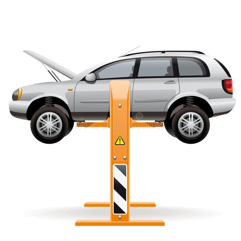 Отремонтируйте автомобиль на подъеме иллюстрация штока