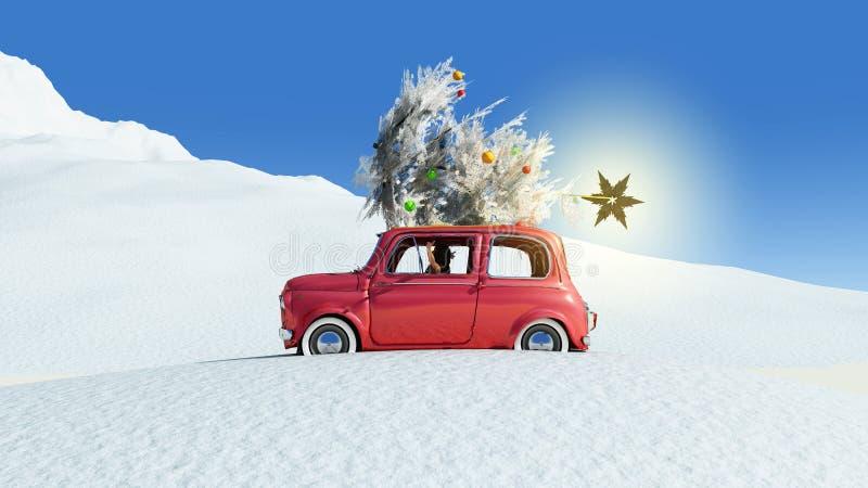 иллюстрация автомобиля с рождественской елкой иллюстрация вектора