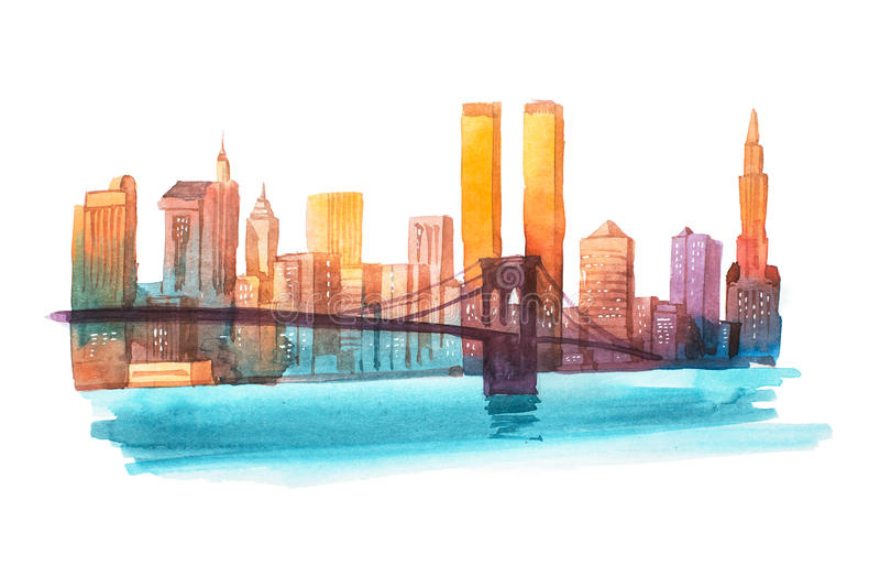 Иллюстрация акварели городского пейзажа Нью-Йорка моста Манхаттана бесплатная иллюстрация