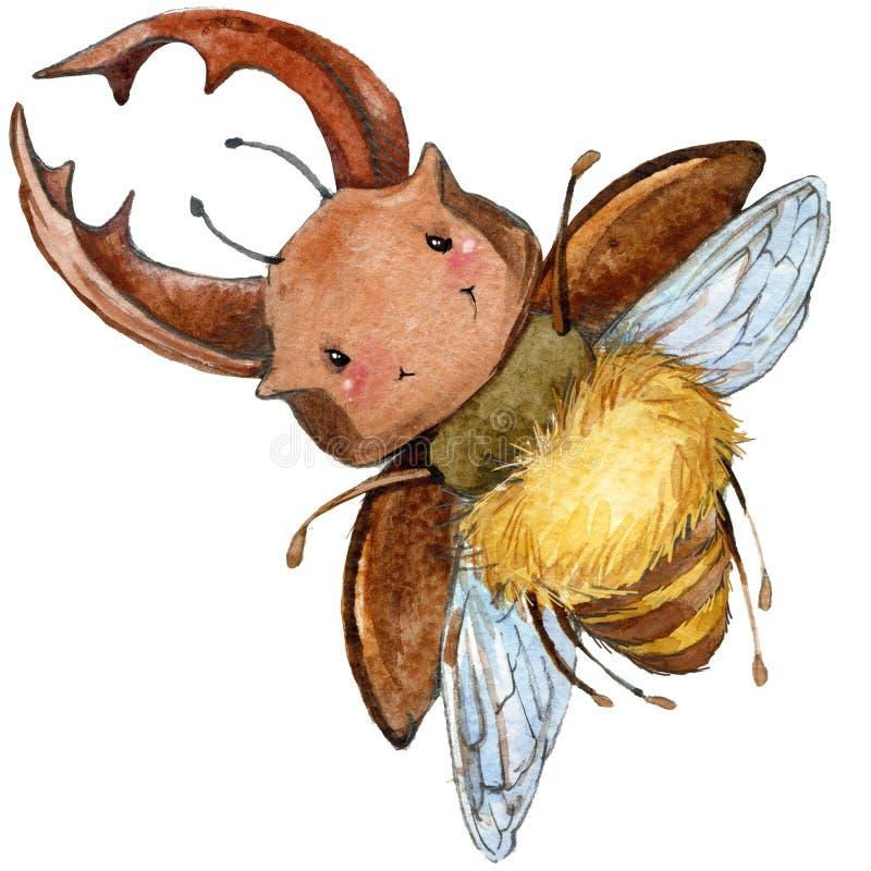 Иллюстрация акварели жука рогача насекомого шаржа иллюстрация штока