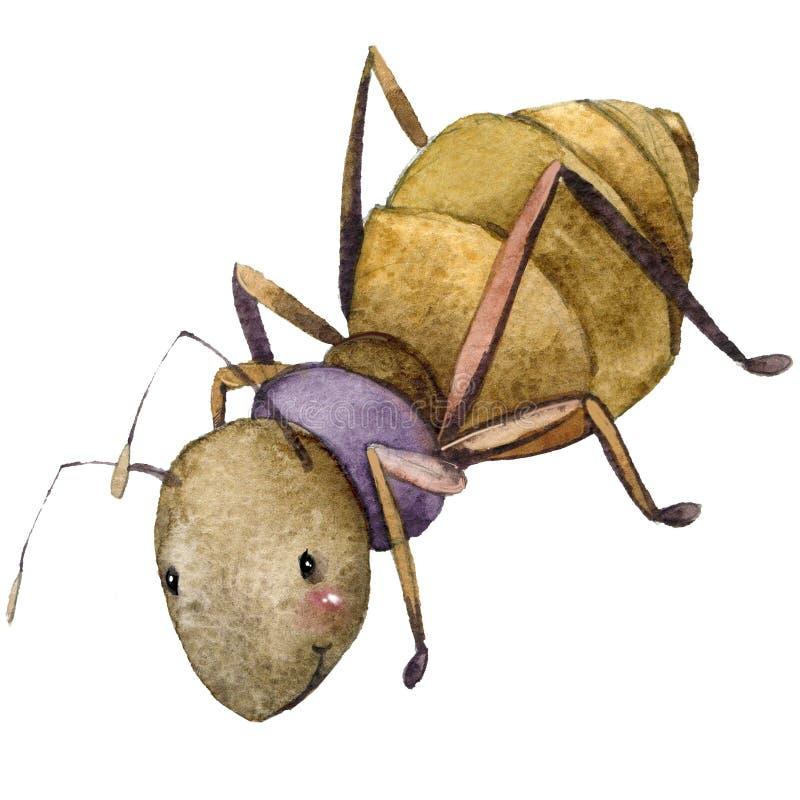 Иллюстрация акварели муравья насекомого шаржа бесплатная иллюстрация