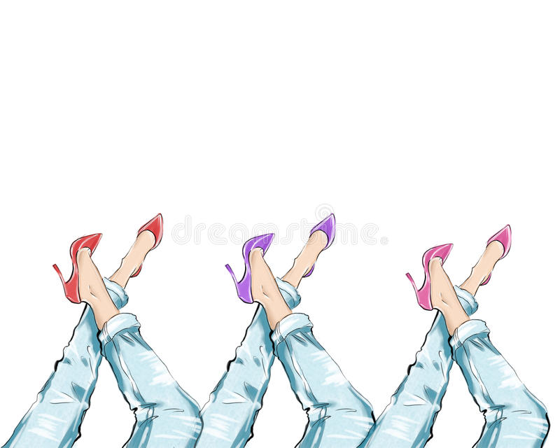 Иллюстрация акварели нарисованная рукой - пятки девушки нося и голубые джинсы джинсовой ткани бесплатная иллюстрация