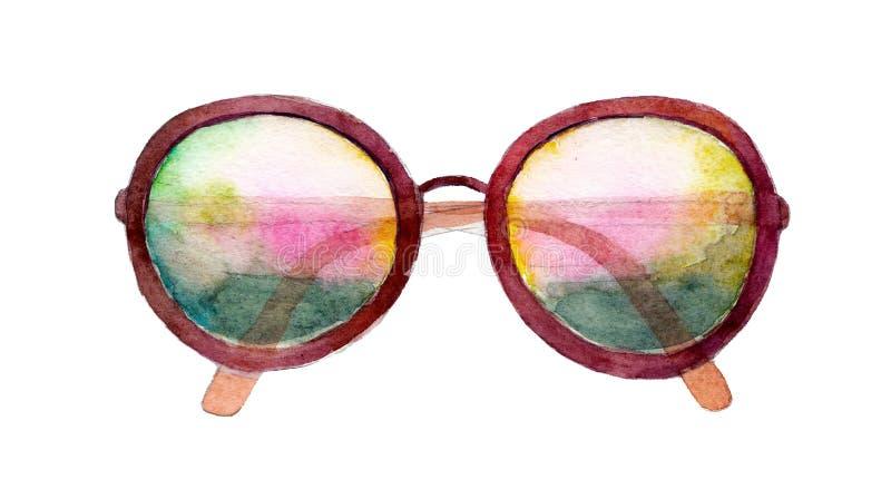 Иллюстрация акварели, солнечные очки изолированные на белой предпосылке иллюстрация штока