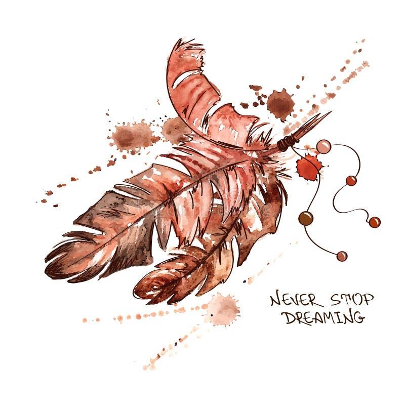 Иллюстрация акварели с пер птицы иллюстрация штока