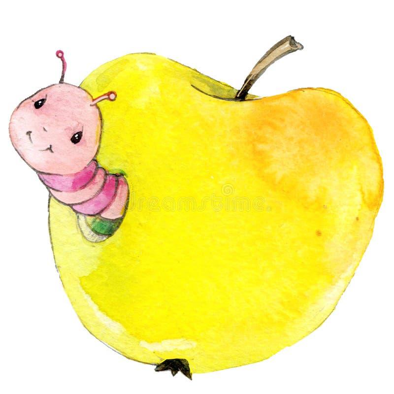 Иллюстрация акварели червя яблока насекомого шаржа бесплатная иллюстрация