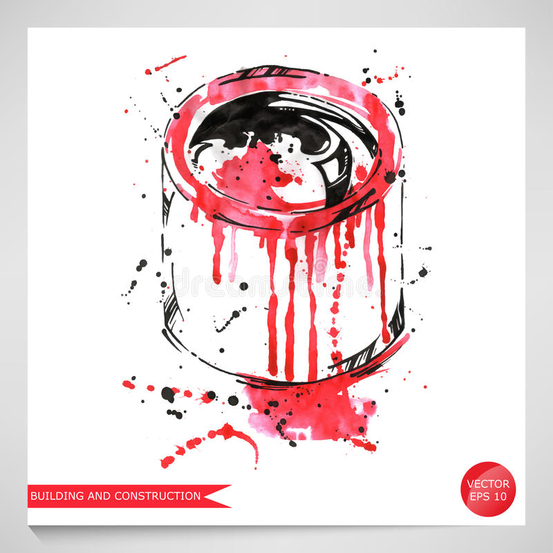 Иллюстрация акварели чонсервной банкы краски Конструкция и repa бесплатная иллюстрация