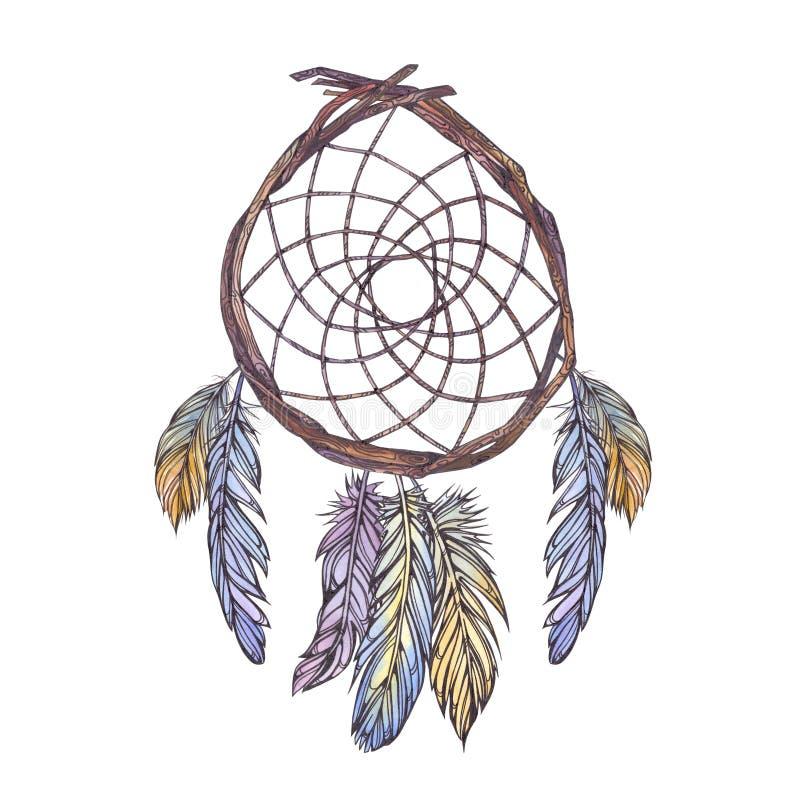 Иллюстрация акварели dreamcatcher от ветвей дерева, стоковые изображения