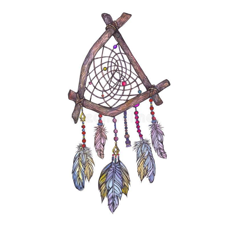 Иллюстрация акварели dreamcatcher от ветвей дерева, стоковые фото