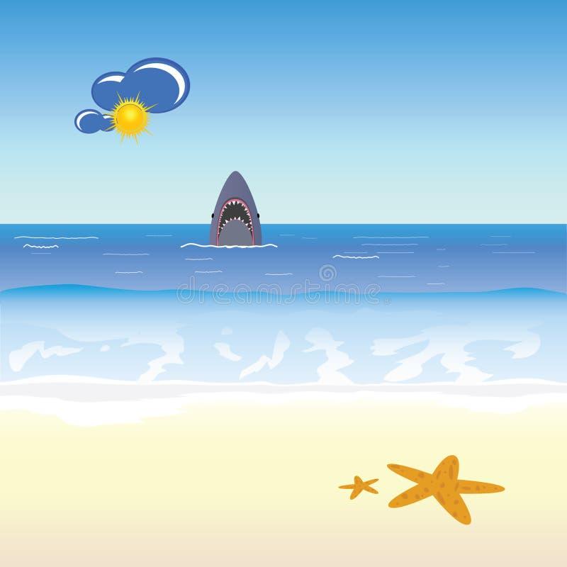 Иллюстрация акулы и пляжа бесплатная иллюстрация