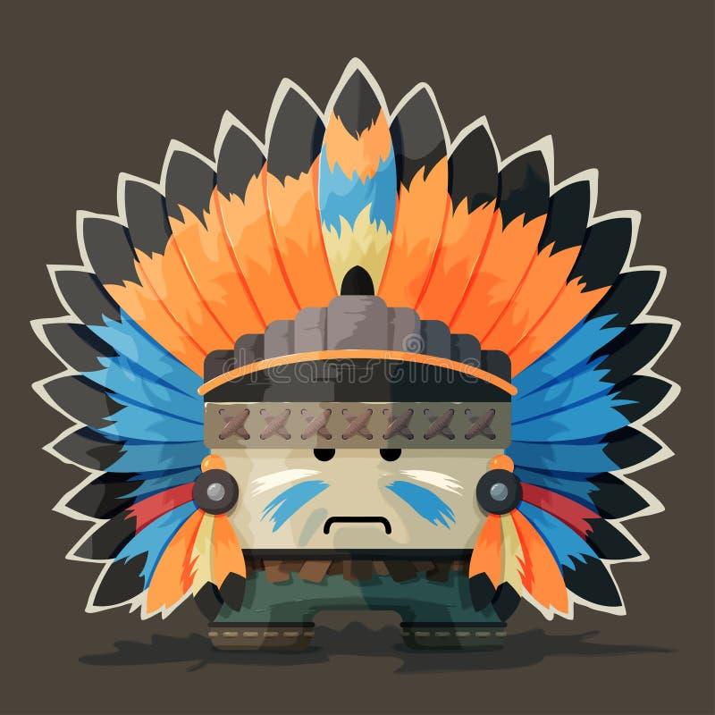 Иллюстрация американского индейца в одичалом иллюстрация вектора