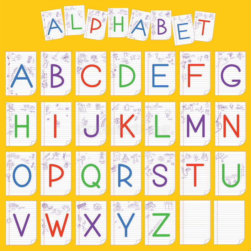 Иллюстрация английского алфавита ребенка иллюстрация вектора