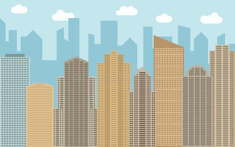 Иллюстрация ландшафта вектора городская Взгляд улицы с городским пейзажем, небоскребами и современными зданиями бесплатная иллюстрация