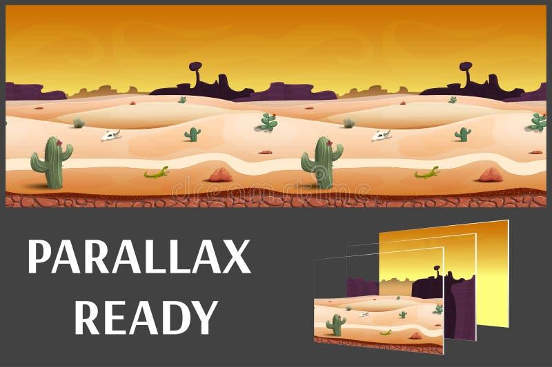 Иллюстрация ландшафта вечера пустыни, с травами, горы и небо, vector бесконечная предпосылка с отделенными слоями иллюстрация штока