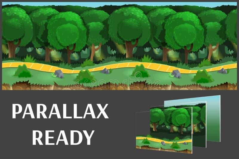 Иллюстрация ландшафта природы, с зелеными лесом и травой, предпосылка вектора бесконечная с отделенными слоями иллюстрация вектора