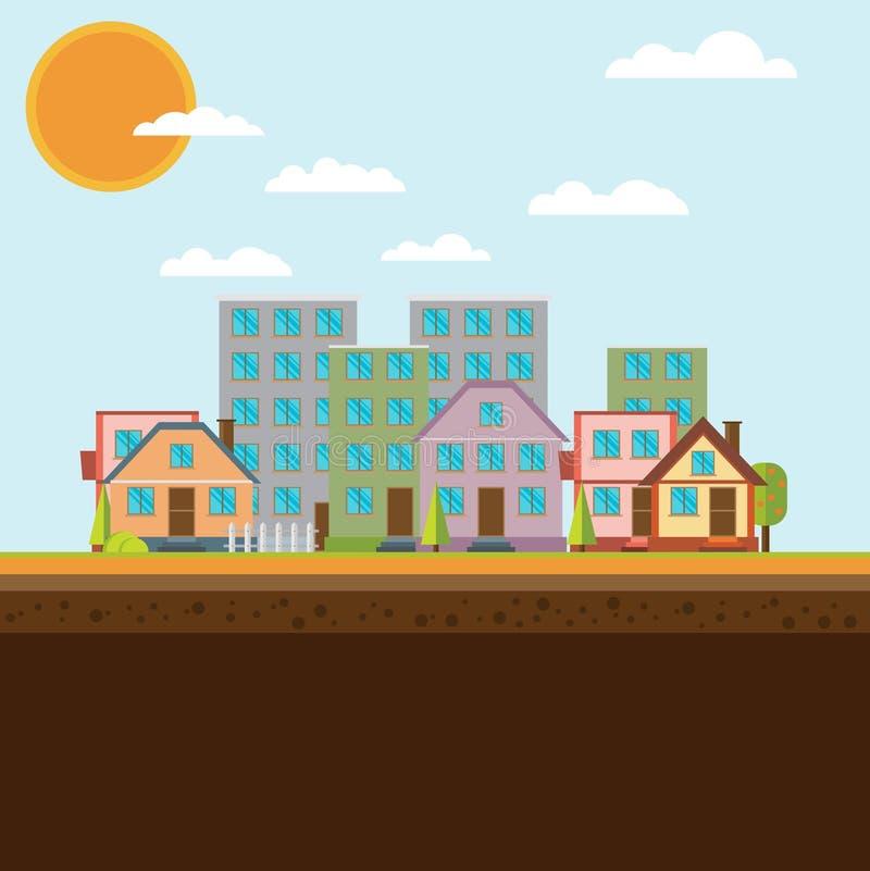 Иллюстрация ландшафта плоского дизайна городская иллюстрация вектора