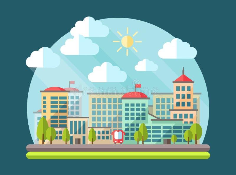 Иллюстрация ландшафта плоского дизайна городского иллюстрация штока