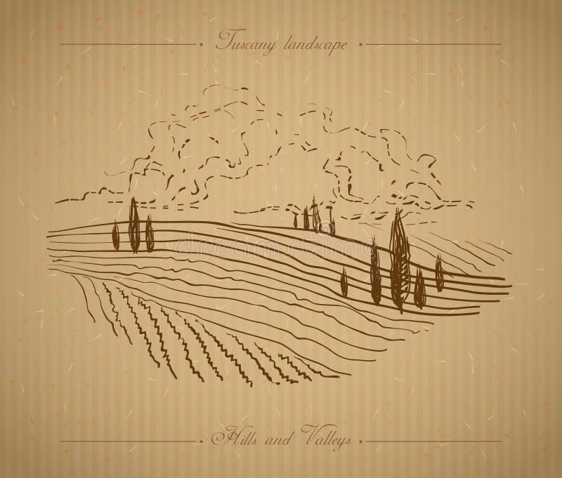 Иллюстрация ландшафта Тосканы нарисованная рукой иллюстрация вектора