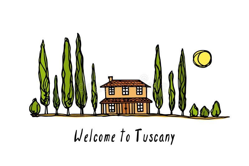 Иллюстрация ландшафта Тосканы иллюстрация штока
