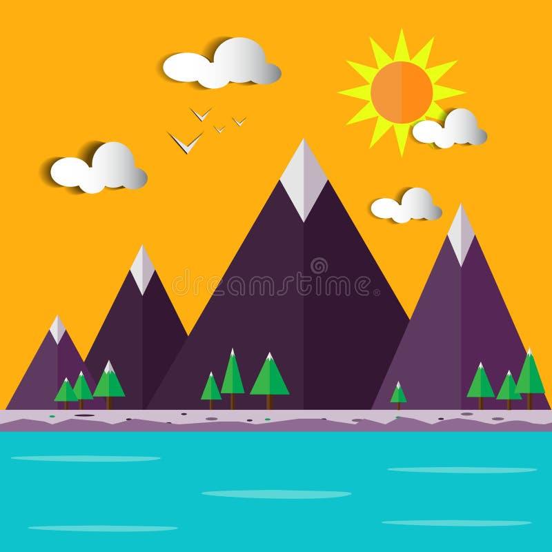 Иллюстрация ландшафт-вектора холма стоковое фото rf