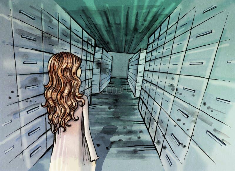 Иллюстрация архива с маленькой девочкой внутрь иллюстрация штока