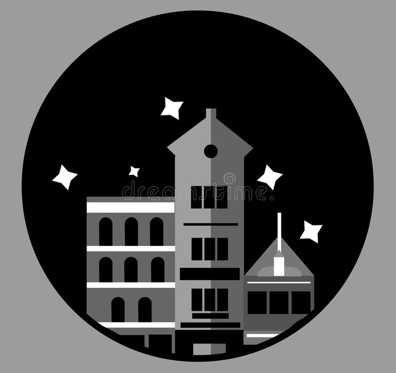 Иллюстрация архитектуры ночей здания города черная белая стоковые изображения