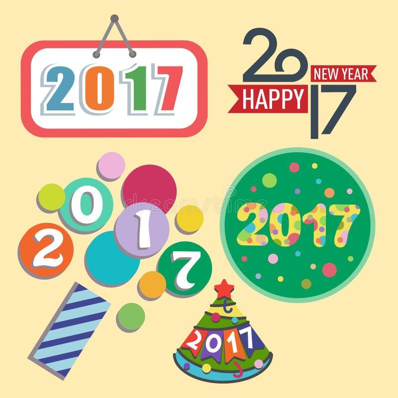 Иллюстрация даты партии приветствию торжества счастливого вектора дизайна текста Нового Года 2017 творческая графическая иллюстрация штока
